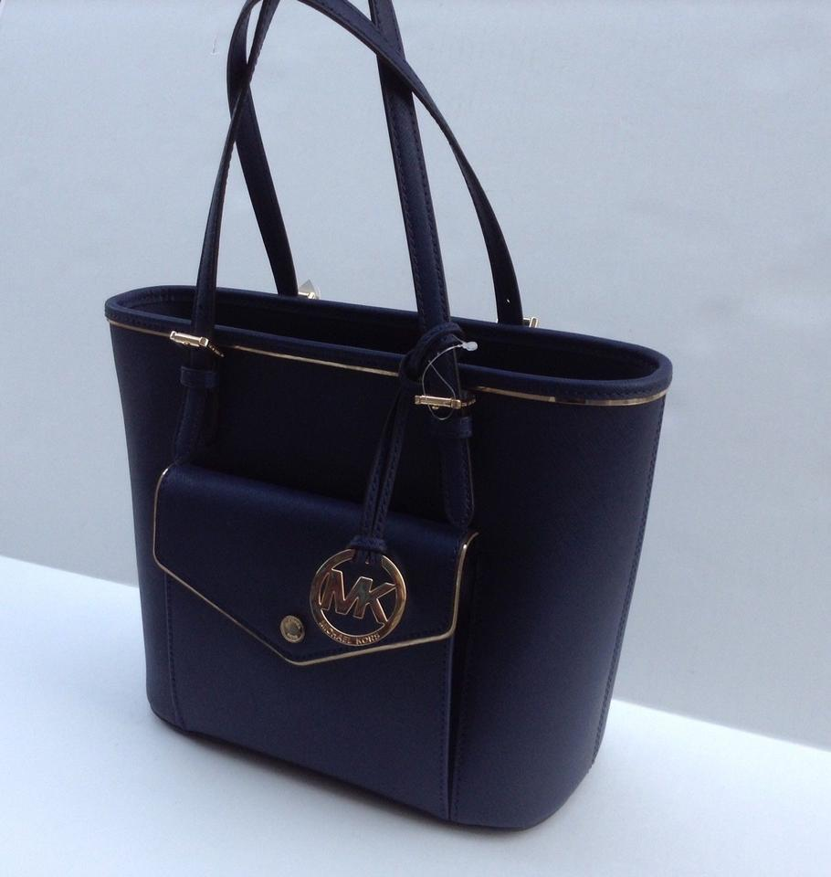 583fbbcd3d0940 Michael Kors Saffiano Frame Md Pocket Multi Function Navy/Gold Navy/Gold  Leather Tote - Tradesy