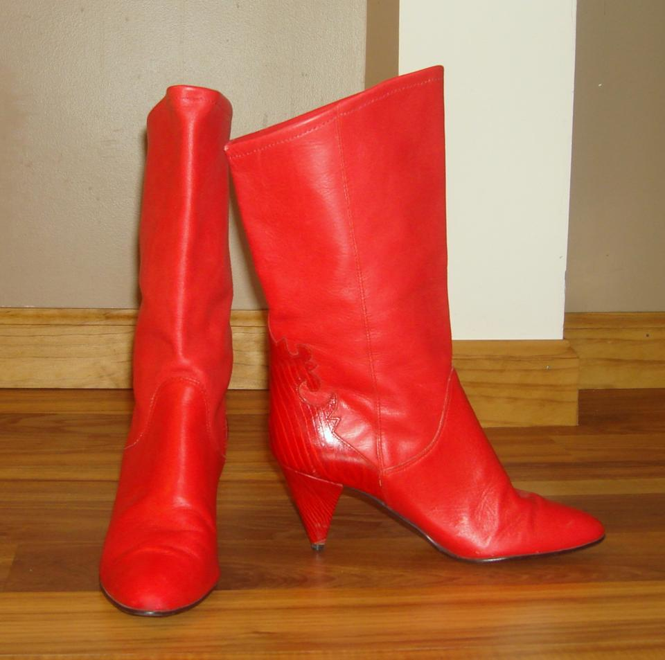 c199476ba2c3 Gloria Vanderbilt Red Vintage Retro 80s Leather Mid Calf Boots ...