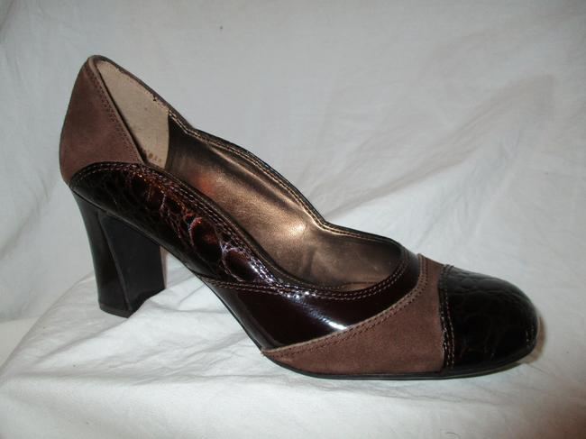 Franco Sarto Brown Multi Croc Embossed Leather and Suede Pumps Size US 7.5 Regular (M, B) Franco Sarto Brown Multi Croc Embossed Leather and Suede Pumps Size US 7.5 Regular (M, B) Image 1