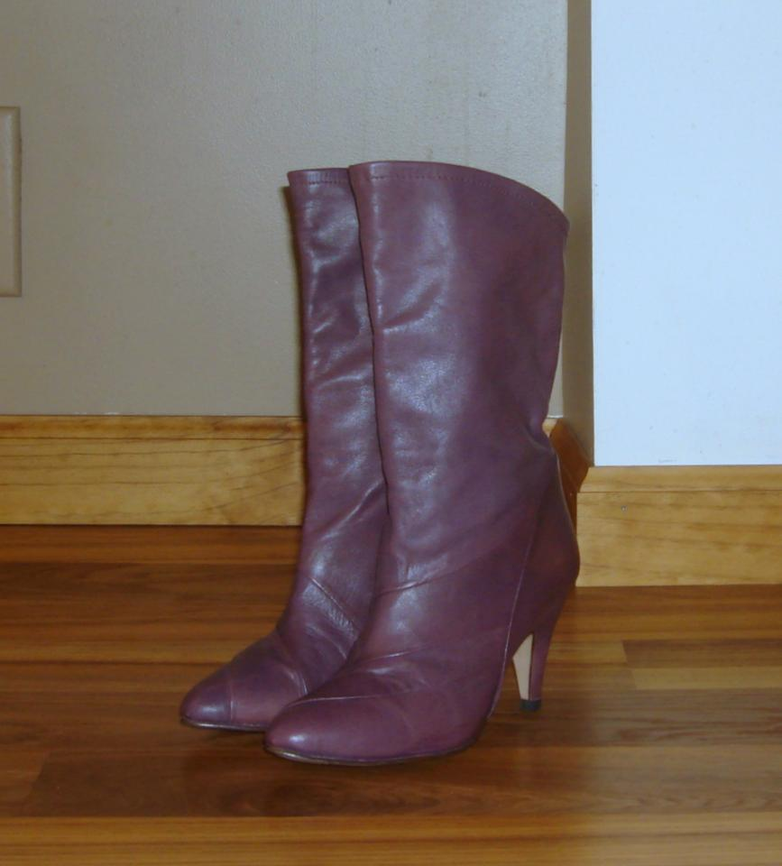 8b9fb7f9a9e1 Gloria Vanderbilt Purple Vintage Retro 80s Leather Mid Calf Boots ...
