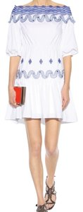 Peter Pilotto short dress white and blue Embroidered Off The Shoulder Colorful Summery on Tradesy