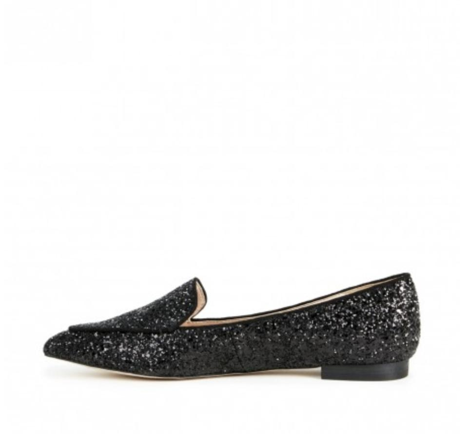 b744b85a700 Sole Society Glitter Pointed Toe Loafer Smoking Slipper Black Flats Image  5. 123456
