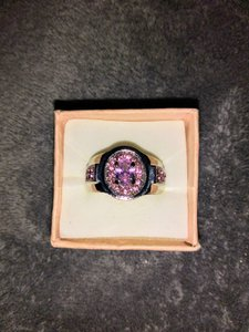 Unknown Women's Size 8 White Gold Plated and Pink Sapphire Ring