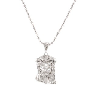 Jewelry For Less Diamond Jesus Face Piece Pendant .925 Charm .50 Ct w/ Moon-cut Chain