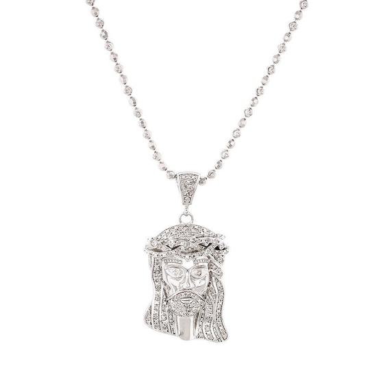 Preload https://img-static.tradesy.com/item/22811195/jewelry-for-less-silver-diamond-jesus-face-piece-pendant-925-50-ct-w-moon-cut-chain-charm-0-0-540-540.jpg