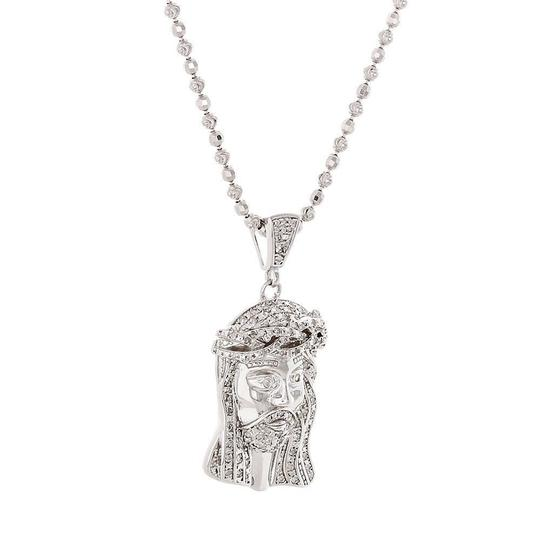 Jewelry For Less Diamond Jesus Face Piece Pendant .925 Charm .50 Ct w/ Moon-cut Chain Image 1