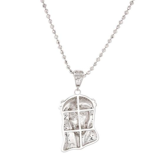 Jewelry For Less Diamond Jesus Face Piece Pendant .925 Charm .50 Ct w/ Moon-cut Chain Image 2