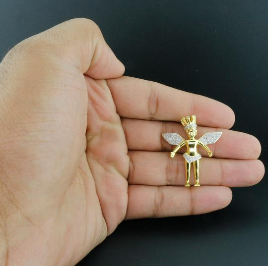 Jewelry For Less Diamond Angel Crown Pendant Sterling Silver Charm 0.25 Ct. w/ Chain Image 7