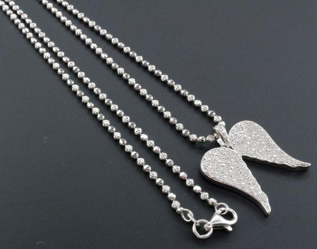 Jewelry For Less Silver W Diamond Angel Wings Pendant .925 Sterling .40 Ct W/ Chain Charm Jewelry For Less Silver W Diamond Angel Wings Pendant .925 Sterling .40 Ct W/ Chain Charm Image 1
