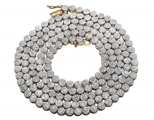 Preload https://img-static.tradesy.com/item/22811233/jewelry-unlimited-yellow-gold-10k-pave-4mm-genuine-diamond-cluster-chain-ins-necklace-0-0-540-540.jpg