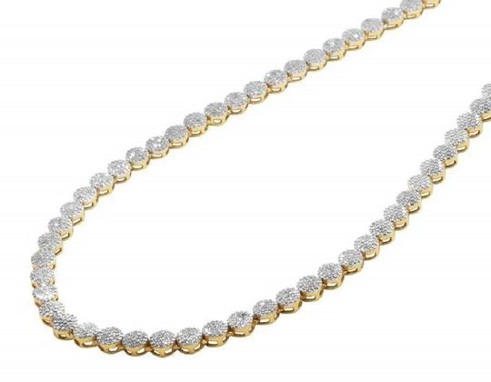 Jewelry Unlimited 10K Yellow Gold Pave 4MM Genuine Diamond Cluster Chain Necklace 30 ins Image 1