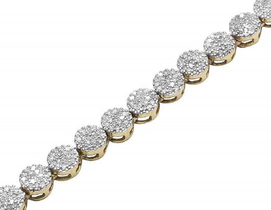 Jewelry Unlimited 10K Yellow Gold Pave 4MM Genuine Diamond Cluster Chain Necklace 30 ins Image 2