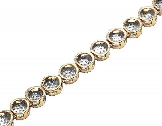 Jewelry Unlimited 10K Yellow Gold Pave 4MM Genuine Diamond Cluster Chain Necklace 30 ins Image 3