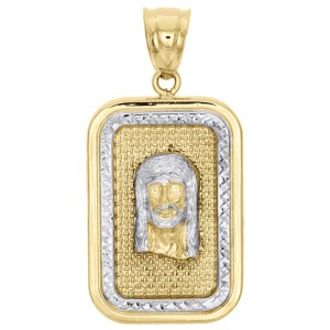 Jewelry For Less 10K Yellow Gold Two Tone Diamond Cut Jesus Face Square Pendant Charm