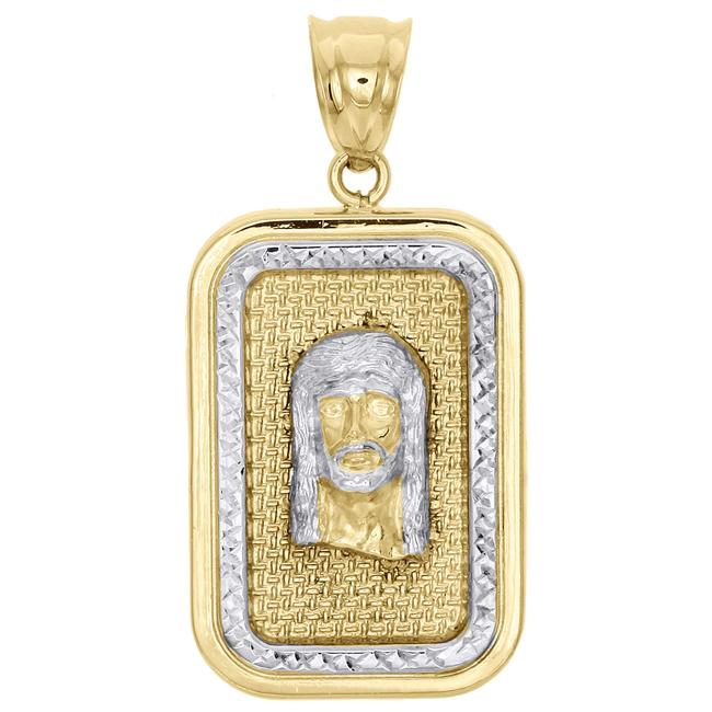 Jewelry For Less Yellow Gold 10k Two Tone Diamond Cut Jesus Face Square Pendant Charm Jewelry For Less Yellow Gold 10k Two Tone Diamond Cut Jesus Face Square Pendant Charm Image 1