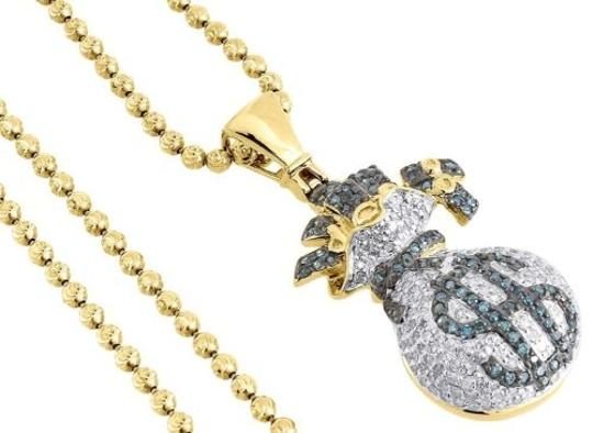 Other Blue Diamond Money Bag Pendant Mens 10k Yellow Gold Round Dollar Sign Charm 1 Ct