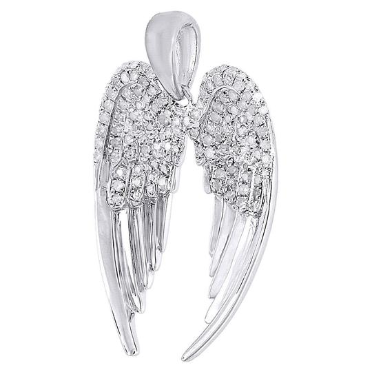 Jewelry For Less Diamond Angel Wings Pendant .925 Sterling Silver Round Charm .42 Ct Image 1