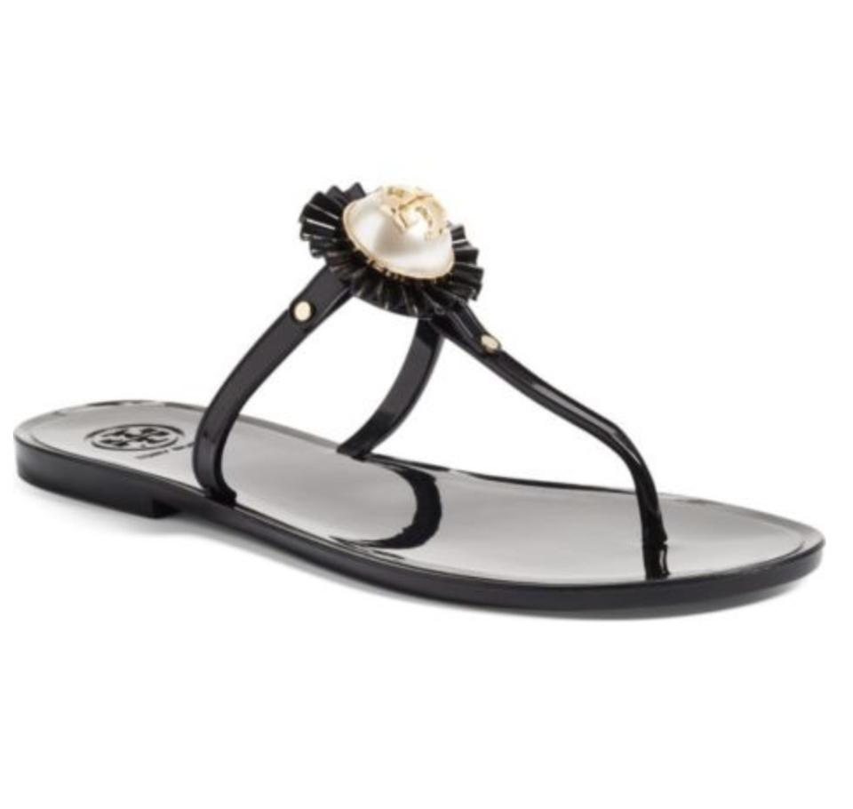 5e5e7d9f394d Tory Burch Black Melody Pearl Logo Bag Flip Flop Sandals Size US 9 ...