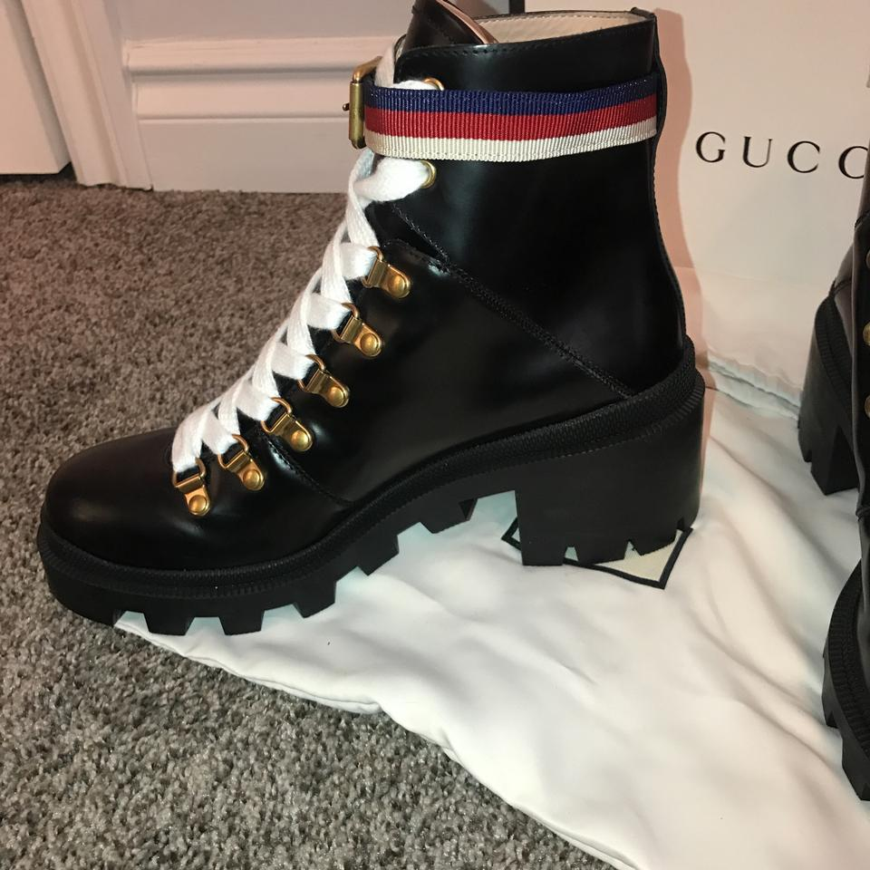 b77e7346cc5c Gucci Black Sylvie Leather Ankle with Web Boots Booties Size US 8 ...
