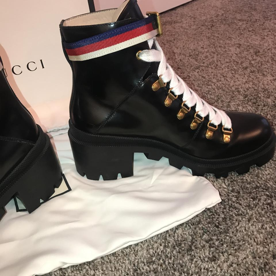 6ef0a13c5 Gucci Black Sylvie Leather Ankle with Web Boots/Booties Size US 8 Regular  (M, B) - Tradesy