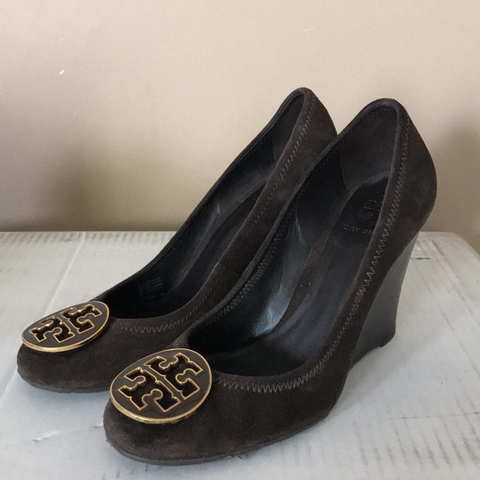 0597474d409ef3 Tory Burch Brown Sophie Suede Wedges Size US 7 Regular (M