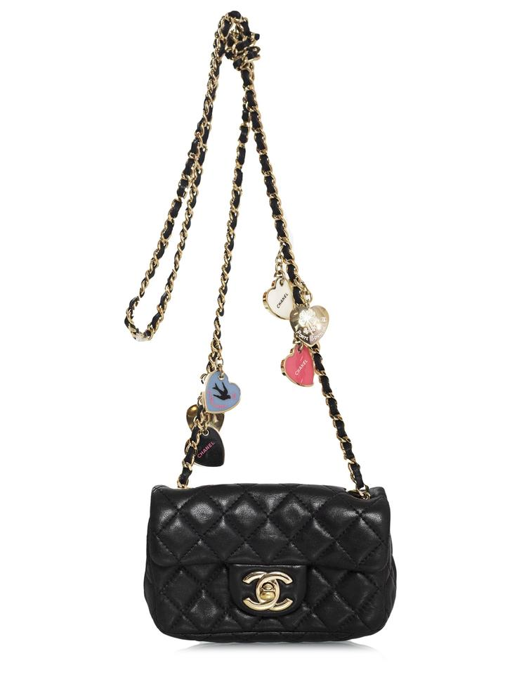 a5433ba40cf6 Chanel Quilted Extra Mini Valentine Flap Black Lambskin Leather ...