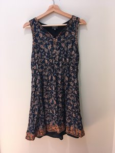 Market & Spruce short dress Dark Blue Summer Embroidered Paisley Rayon Polyester on Tradesy