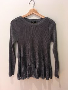 Cable & Gauge Silver Peplum Rayon Polyester Sweater