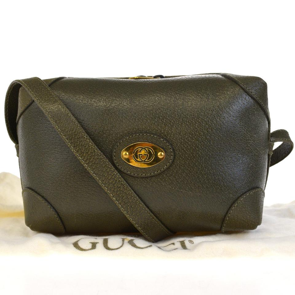 6bec9e42d08c Gucci Gg Logos Shoulder Made In Italy 66ed231 Khaki Gold Leather ...