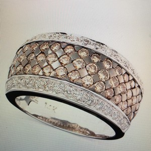 LeVian Le Vian Chocolate and White Diamond Band Ring.