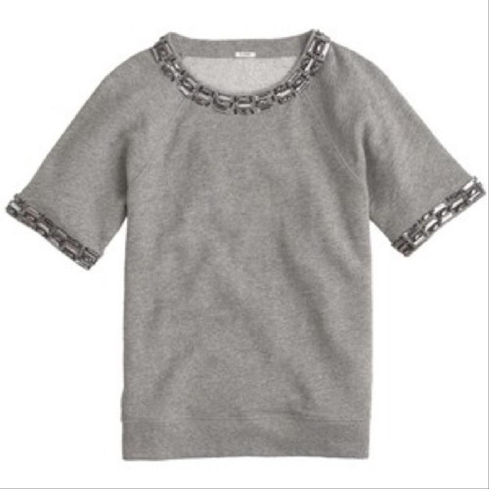 J.Crew Grey Jeweled Short-sleeve 03281 Sweatshirt Hoodie Size 8 (M ... 0db5f8d99