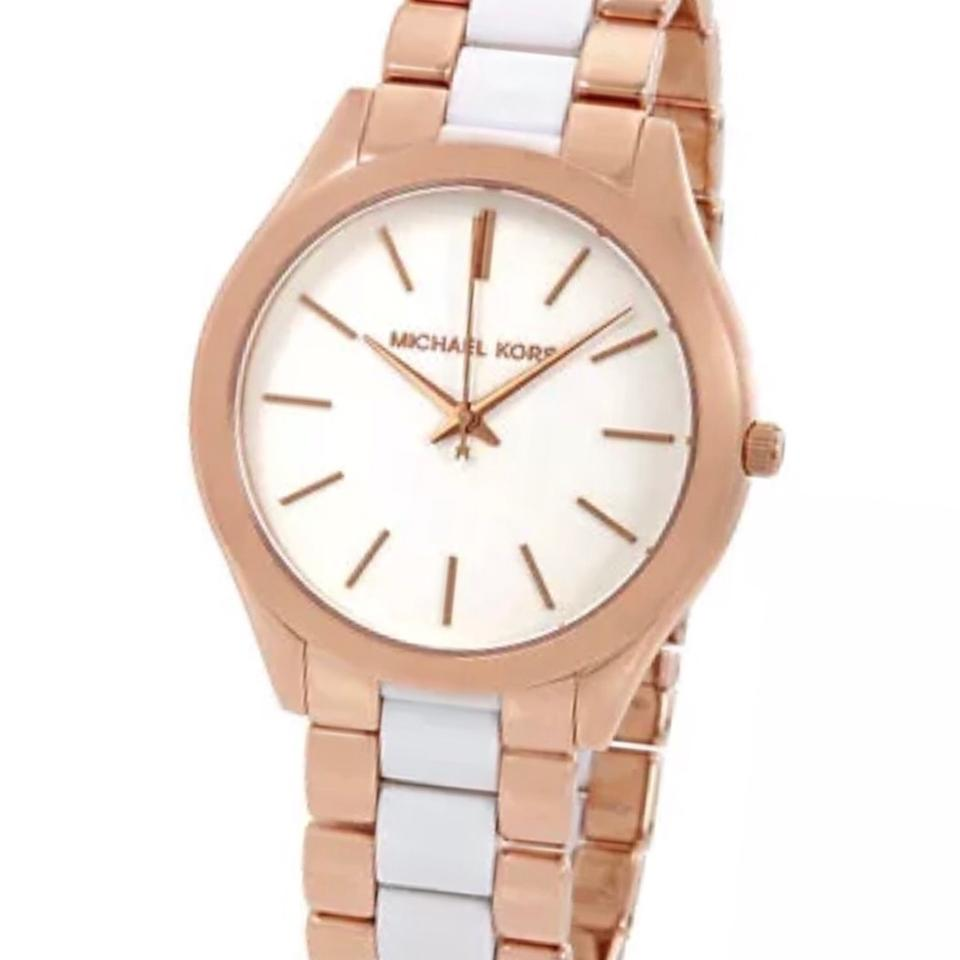 4a53d0880 Michael Kors Rose Gold/White New Mk4311 Slim Runway Stainless Ladies Watch  49% off retail