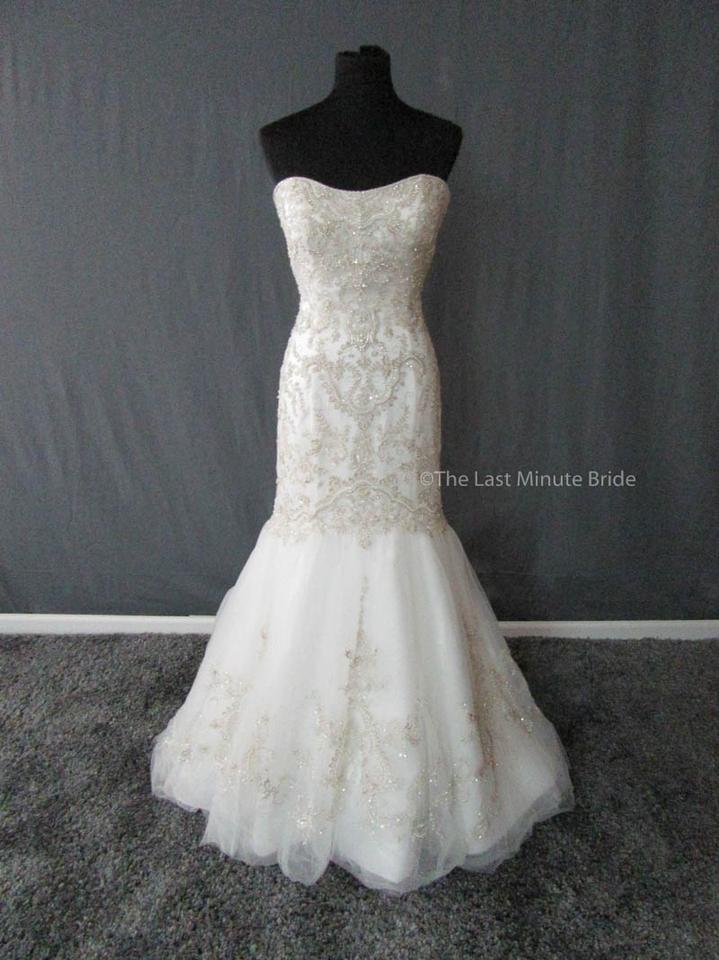 Casablanca Ivory Silver Embroidered Tulle 2197 Feminine Wedding Dress Size 14 L