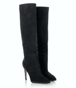 Sergio Rossi Suede High Heel Stiletto Black Boots
