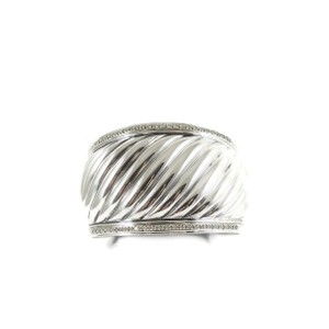 David Yurman David Yurman Sterling Silver .81tcw Wide Diamond Cable Cuff Bracelet