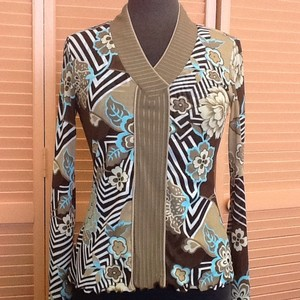 ANAC By Kimi Top Brown Tan Turquoise