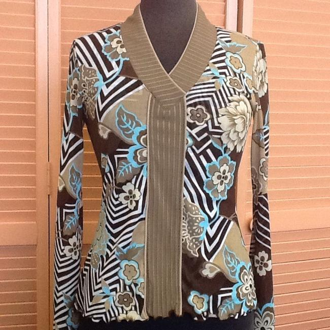 Item - Brown Tan Turquoise Blouse Size 8 (M)