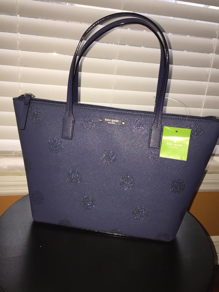 2ee809966b902 Kate Spade Hani Haven Lane Tote in French navy glitter dots Image 0 ...