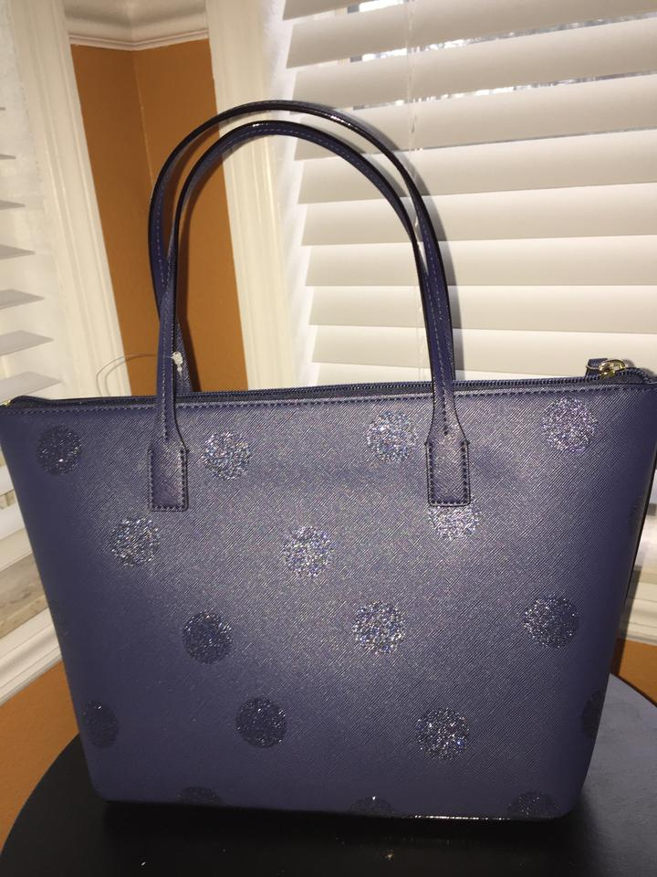 31e381f060556 Kate Spade Hani Haven Lane Tote in French navy glitter dots Image 4. 12345