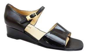 St. John New Sport Patent Leather Open Toe Wedge Rare Black Sandals