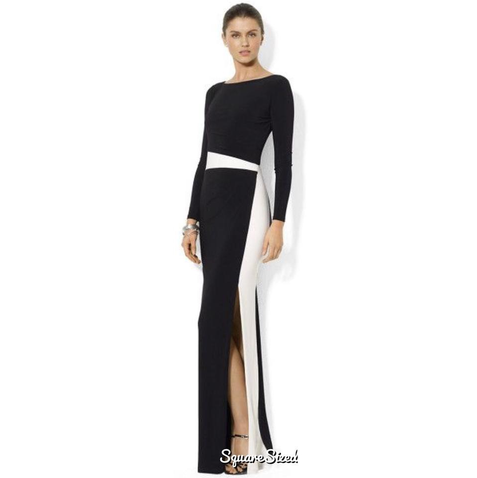 Ralph Lauren Black and White Evening Gown Long Formal Dress Size 2 ...