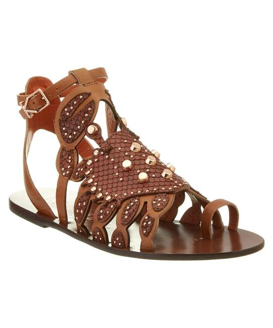 Item - Cognac Fabby Scrabby New Leather Rose Gold Studs Sandals Size US 7.5 Regular (M, B)