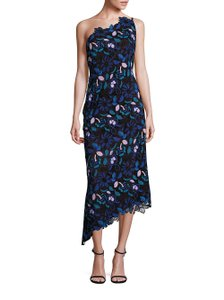 Laundry by Shelli Segal Asymmetrical Hem Scalloped Neckline Embroidered Dress