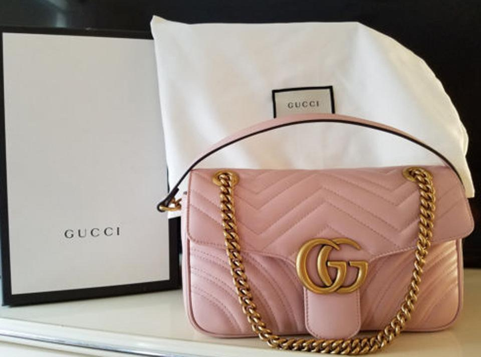 7e58d3d8af8 Gucci Marmont New Gg Small Light Pink Leather Shoulder Bag - Tradesy
