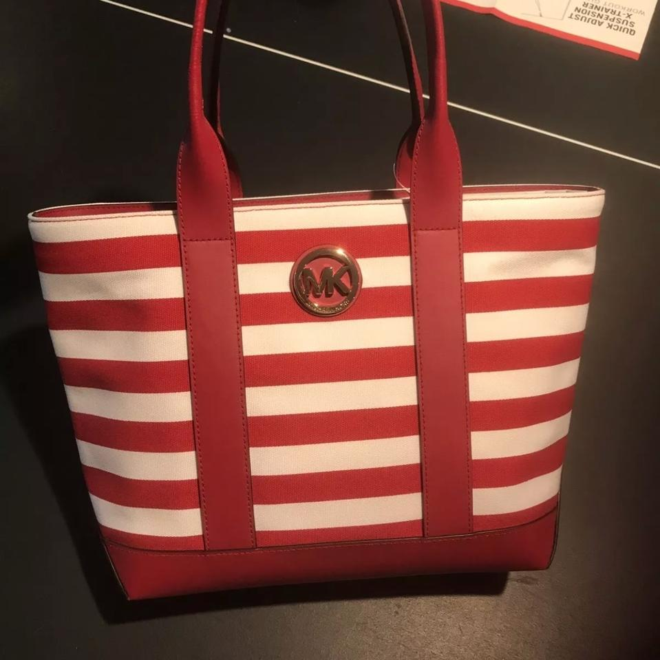 f3851e1eaf Michael Kors Fulton Navy Red White Striped Medium Red White Canvas Tote 36%  off retail