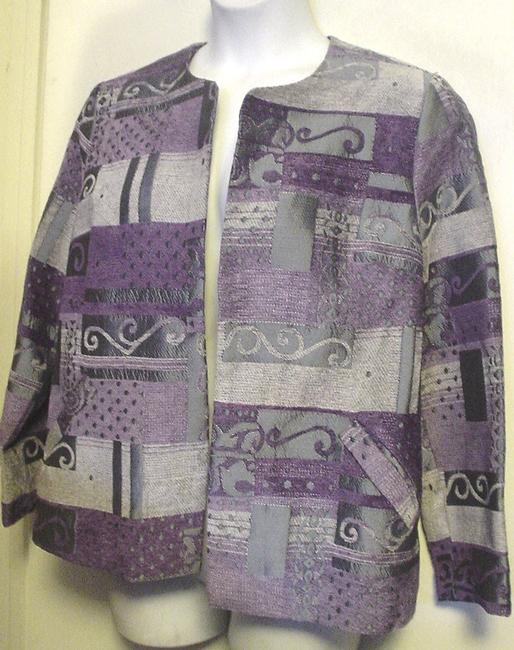 Item - Purple Silver XL Tapestry Unlined Blazer Career Style Ec Cardigan Size 16 (XL, Plus 0x)