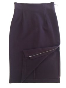 Alessandro Dell'Acqua Pencil Zipper Sexy Skirt Dark Burgundy Brown