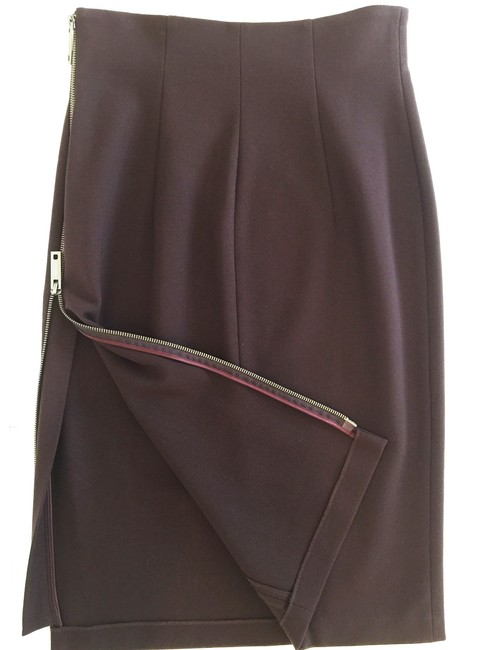 Alessandro Dell'Acqua Pencil Zipper Sexy Skirt Dark Burgundy Brown Image 1
