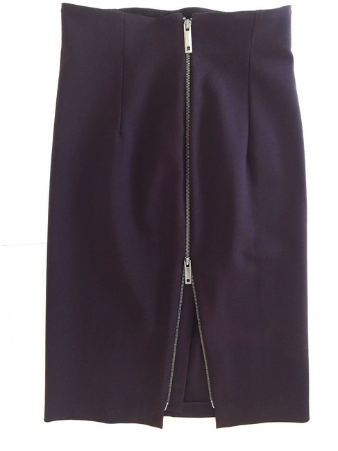 Alessandro Dell'Acqua Pencil Zipper Sexy Skirt Dark Burgundy Brown Image 2