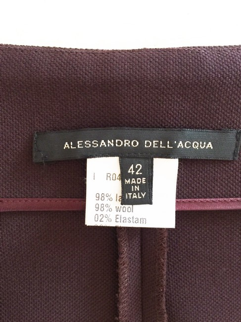 Alessandro Dell'Acqua Pencil Zipper Sexy Skirt Dark Burgundy Brown Image 4